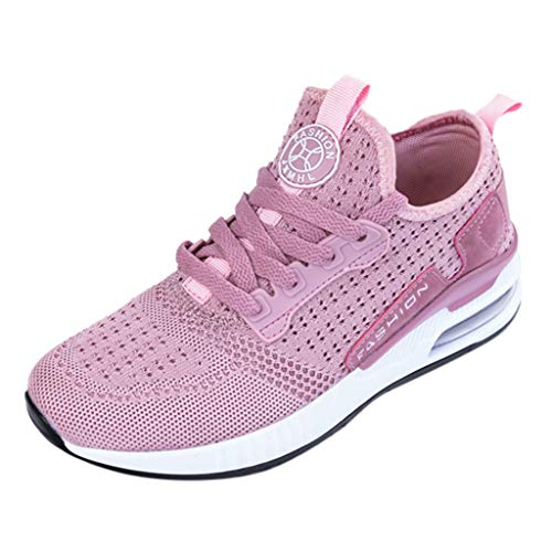 JUSTWIN Men Women Fashion Outdoor Casual Sports Shoes Mesh Running Couple Shoes Breathable Mesh Non-Slip Running Shoes Pink