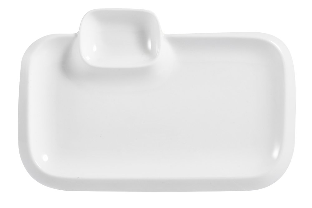 CAC China TRY-RT10 Party Collection New Bone White Porcelain Rectangular Platter with Sauce Compartment, 10-Inch by 6-1/2-Inch by 1-Inch, Box of 12