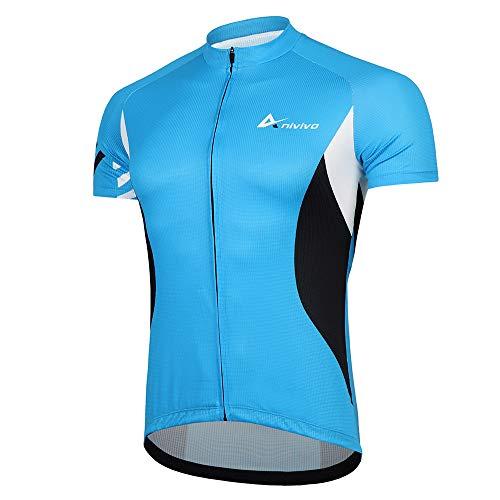 ANIVIVO Cycling Jersey for Men with Pockets,Men Bike Shirts Comfort Biking Clothing& Road Bike Jersery(Blue,XL)