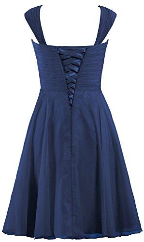 Women's Chiffon Cap Sleeve Bridesmaid Dress Short Prom Gown Size 18W US Navy