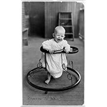 Photo: Learning to walk,Baby in Walker,Smiling,Happy,c1905,Infant