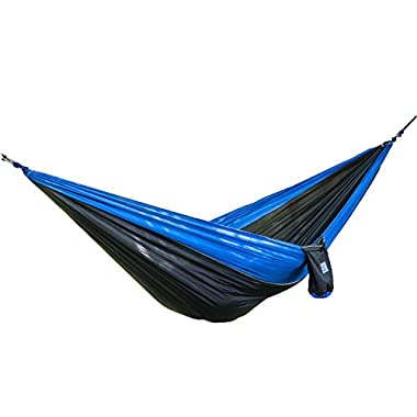 OuterEQ Portable Nylon Fabric Travel Camping Hammock For Double Two Person Blue/Black