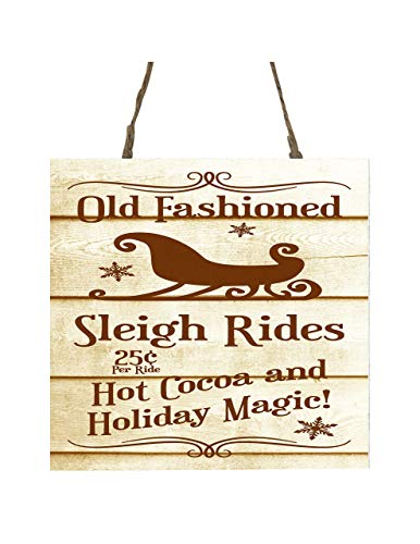 Vintage Sleigh Rides Printed Handmade Wood Christmas Ornament Small Sign