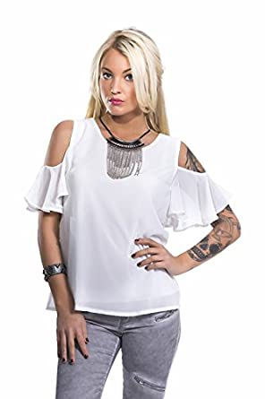 22f70803d467 blooshop Women's Plain or unicolor T-Shirt White White: Amazon.co.uk ...