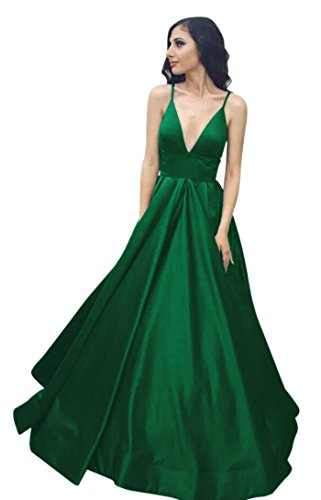VinBridal Long Spaghetti Straps Satin Ball Gown Prom Dresses with Pockets Green 8 ()