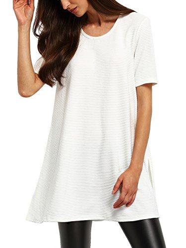 SheIn Women's Ribbed Side Split T-shirt Short Sleeve Slit Long Tee Large White