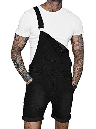 Denim Jean Romper - Taoliyuan Mens Duck Bib Denim Short Overalls Jeans Romper Casual Workout Summer Button Jumpsuit (Large, Black)