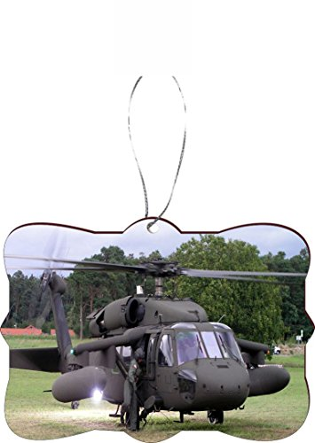Rikki Knight RKWS-SQORN-9111 Christmas Tree Ornament / Car Rear View Mirror Hanger Black Hawk Helicopter Design