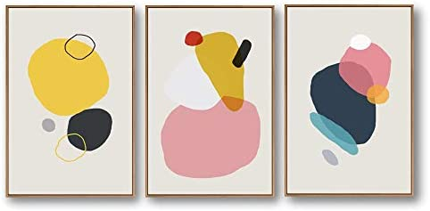 SIGNFORD 3 Piece Framed Canvas Home Artwork Decoration Abstract Color Block Canvas Wall Art