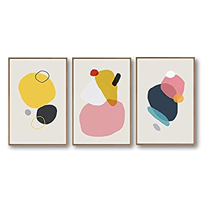 3 Piece Framed Canvas Home Artwork Decoration Abstract Color Block Canvas Wall Art for Living Room, Bedroom - 16