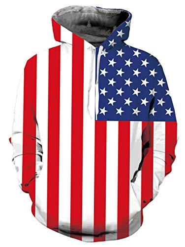 (UNIFACO Unisex Proud American Flag Print Long Sleeve Hoodie Sweatshirt)