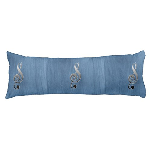 UOOPOO Abstract Blue Wood Grain Music Clef Note Polyester Body Pillow Cover Square 20 x 54 Inches for Bed Print on Twin Sides