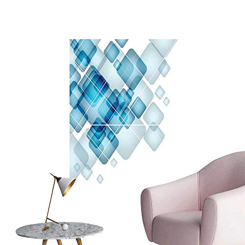Abstract Art Decor 3D Wall Mural Wallpaper Stickers Blue Colored Squares with Round Edges and Lines Modern Digital Technology Theme Background Wall Stickers Blue White W32 x H48