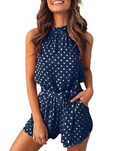 (PRETTYGARDEN Women's Summer Polka dot Printed Halter Neck Sleeveless Elastic Waist One Piece Short Jumpsuit Rompers (Navy,)