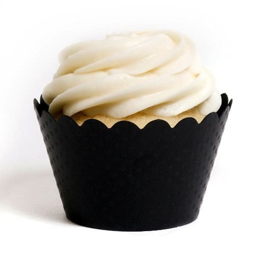 Dress My Cupcake DMC1002 Solid Cupcake Wrappers, Emma Black, Pack of 48 by Dress My Cupcake