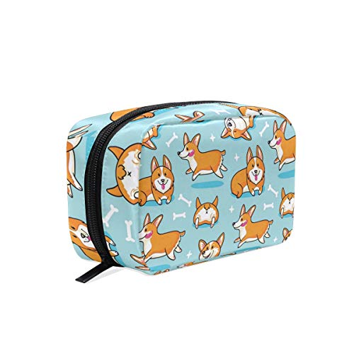 Corgi Puppy Dog Cosmetic Bags Organizer- Travel Makeup Pouch Ladies Toiletry Case for Women Girls, CoTime Black Zipper