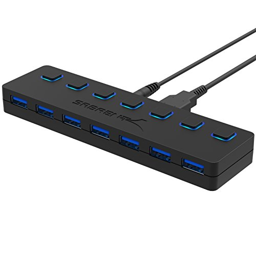 Sabrent 7-Port USB 3.0 Hub with Individual Power Switches and LEDs included 12V/4A power adapter (HB-UMA7)