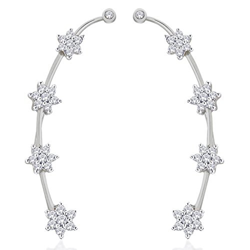 the-jewelbox-womens-white-rhodium-plated-nakshatra-flower-ear-cuff-pair