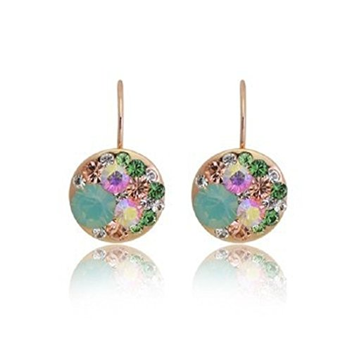 18K Periwinkle Austrian Crystal Drop Earrings, Lead and Nickel Free Dazzling Earring with Unique Lever Backing Design, Multiple Color Available (Multicolor Rosegold -