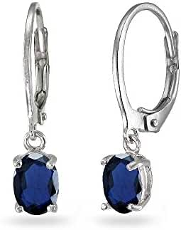 LOVVE Sterling Silver Genuine, Simulated or Created Birthstone 7x5mm Oval Small Dangle Leverback Earrings