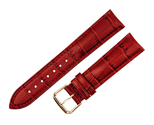RECHERE Alligator Crocodile Grain Leather Watch Band Strap Rose Gold Pin Buckle (Red (Ladies Alligator Grain Leather Watch)