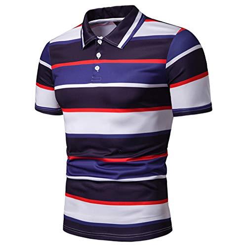 Summer Stripe Painting Top Men Fashion Short Sleeve Large Size Casual Blouse Fashion Shirts -