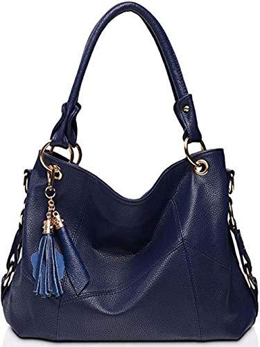 BAISHILINWomen's Tote Shoulder Bag Handbag Purses Satchel Shoulder Bags Handle Bag Leather tassel (Dark blue), 15.7in(L) x 5.9in (W) x 11in (H),handle-7.9in
