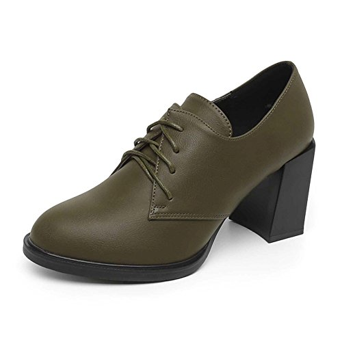 Damen High Heels, Dick mit Runder Kopf-Riemen Schuhe-B Fußlänge=22.3CM(8.8Inch)