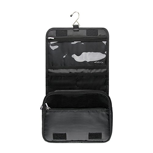 Arvok Hanging Toiletry Bag with Metal Hook Portable Travel Makeup Shower Bath Kits Storage Organizer Cosmetic Pouch Case for Women and Men Outdoor Activities and Vocations (Black) -