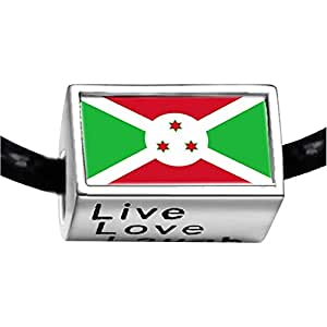 Chicforest Silver Plated Burundi flag Photo Live Love Laugh Charm Beads Fits Pandora Biagi Troll Chamilia Kay's Beads Charms