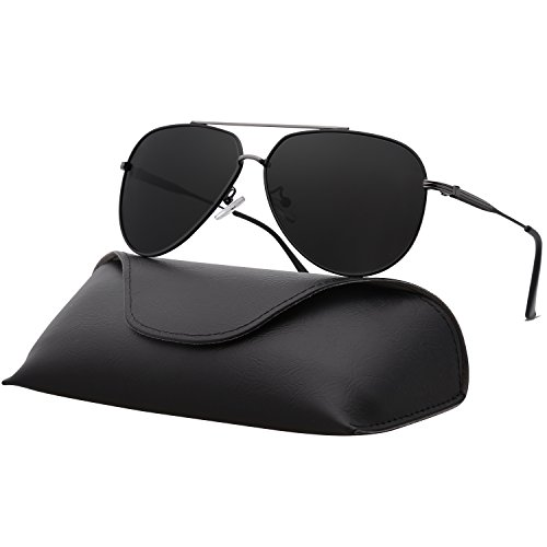 Ray Parker Sunglasses for Men Aviator Polarized Double Bridge Mens Sunglasses RP0967 With Black&Gun Frame/Grey Lens