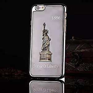 QHY Statue of Liberty Pattern Brushed Metal Cover for iPhone 6 Plus Case (Assorted Colors) , Coffee