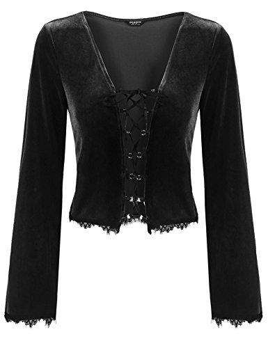 Zeagoo Women's Vintage Velvet Jacket Long Sleeve Cardigan Lace up Shrug Bolero,Black-1,XX-Large