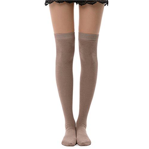 - MK MEIKAN Opaque Thigh High Socks, Cosplay Women's Girls' Knee High Socks Gifts 1 Pairs, Tan
