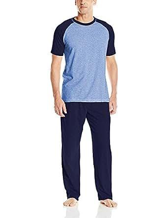 Hanes Men's Adult X-Temp Short Sleeve Tagless Cotton Raglan Shirt and Pants Pajamas Pjs Sleepwear Lounge Set - Grey (Medium)