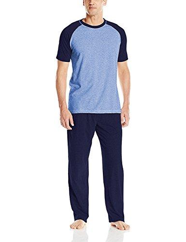 Hanes Men's Adult X-Temp Short Sleeve Tagless Cotton Raglan Shirt and Pants Pajamas Pjs Sleepwear Lounge Set - Blue (Medium) -