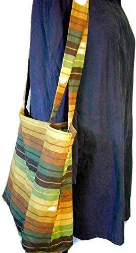 Fabric Grocery Bag Carry All Tote Bag Green Brown Striped
