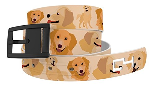 C4 Belts Golden Retriever Dog Classic Print Belt with Black Buckle - Fashion Belt For Dog Lovers - Waist Belt for Women and (Golden Retriever Belt)