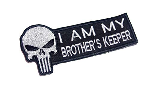 (AstroG @ BP3 Punisher Skull I Am My Brothers Keeper Motorcycle Biker Racing Saying Morale Vest Patch 5X1.5 Inch (Sew-on only))