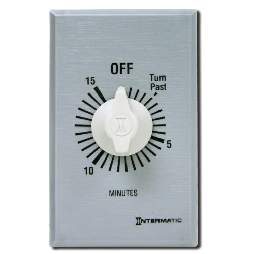 Intermatic FF460M 60-Minute Spring Loaded Wall Timer, Brushed Metal (Dpst Timer)