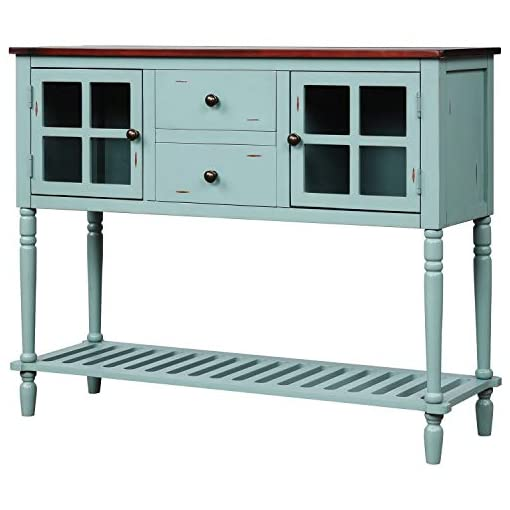 Farmhouse Buffet Sideboards Sideboard Console Table with Bottom Shelf, Farmhouse Wood/Glass Buffet Storage Cabinet Living Room (Blue) farmhouse buffet sideboards