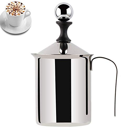 Cheap Milk Frother Hand Pump Creamer BEMINH Stainless Steel Double Mesh Manual Coffee Milk Foam Frothing Pitcher Froth Pump Foamer Cup for Hot Chocolate Coffee Latte Cappuccino (27 Ounce/800ML)