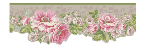 York Wallcoverings AK7409B Ashford House Blooms Victorian Garden Border, Metallics