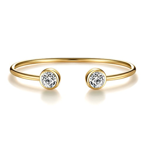 - April Simulated Diamond Birthstone Cuff Bangle Bracelet Crystal Gold Plated Bangle Bar Birth Month Charm Valentine's Day Gifts For Wife Girlfriend Birthday Gifts for Women Anniversary Gifts for Her
