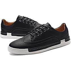 GIY Men Fashion Low-top Round Toe Sneaker Platform Lace-up Flat Casual Skate Shoes