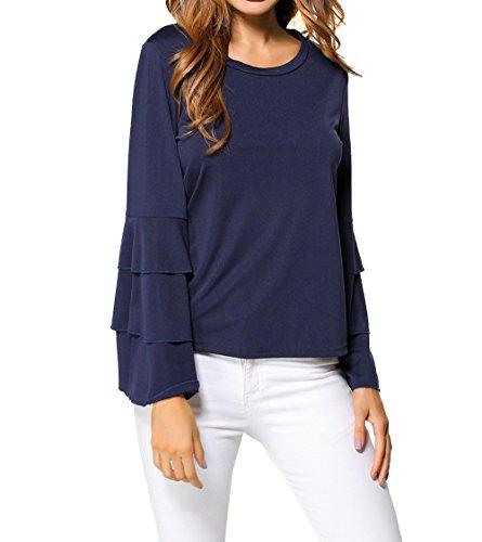 Mujeres Tops Moda Colores Lisos Camisas Jerséis Sudaderas Cuello Redondo Cuerno Manga Camisetas Blusa T-Shirt: Amazon.es: Ropa y accesorios