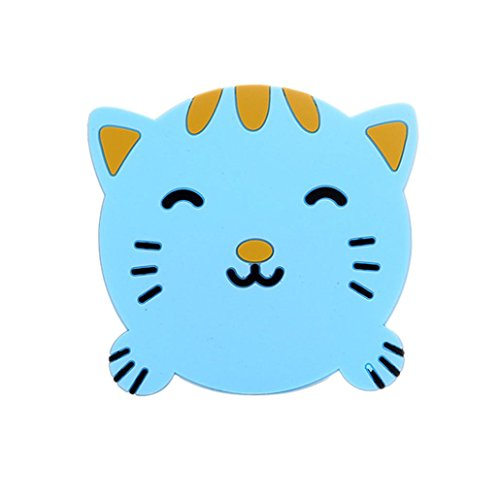 YJYdada 1PC Animal Pattern Silicone Cup Drinks Holder Mat Tableware Placemat (Blue)