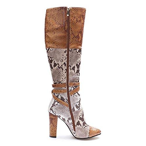L@YC Frauen Stiefel PU Reißverschluss Kunstleder Herbst Winter Reitstiefel Pfennigabsatz Plattform Zehe Kniehohe Stiefel für Party A