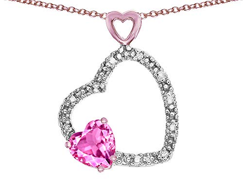 Star K Double Open Heart Pendant Necklace with 6mm Created Pink Sapphire Stone 10 kt Rose Gold