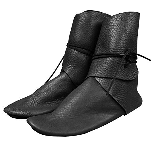Syktkmx Mens Renaissance Slip on Loafer Boots Medieval Cosplay Pirate Viking Tied Halloween Cuff Shoes Black -